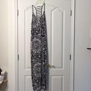 Xhilaration Black white maxi coverup dress L NWT